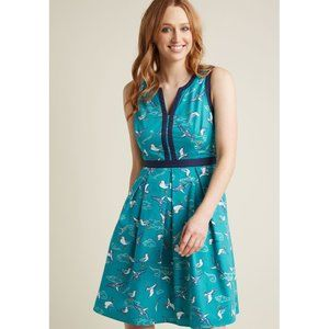 ModCloth blue seagull print fit and flare dress